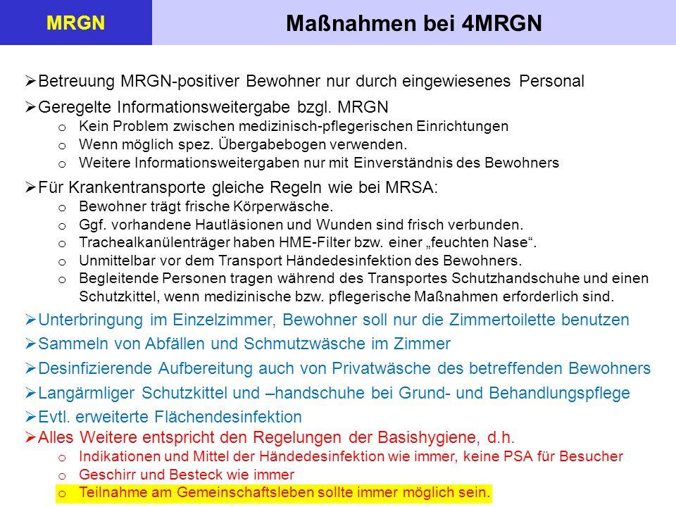 Maßnahmen bei 4MRGN MRGN  Betreuung MRGN-positiver Bewohner nur durch eingewiesenes Personal  Geregelte Informationsweitergabe bzgl.