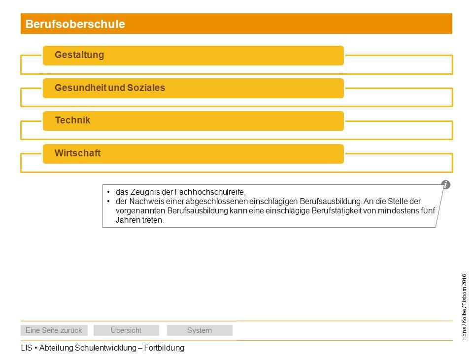 LIS Abteilung Schulentwicklung – Fortbildung Eine Seite zurückÜbersichtSystem Hons / Kolbe / Tisborn 2016 Berufsoberschule GestaltungGesundheit und SozialesTechnikWirtschaft i das Zeugnis der Fachhochschulreife, der Nachweis einer abgeschlossenen einschlägigen Berufsausbildung.