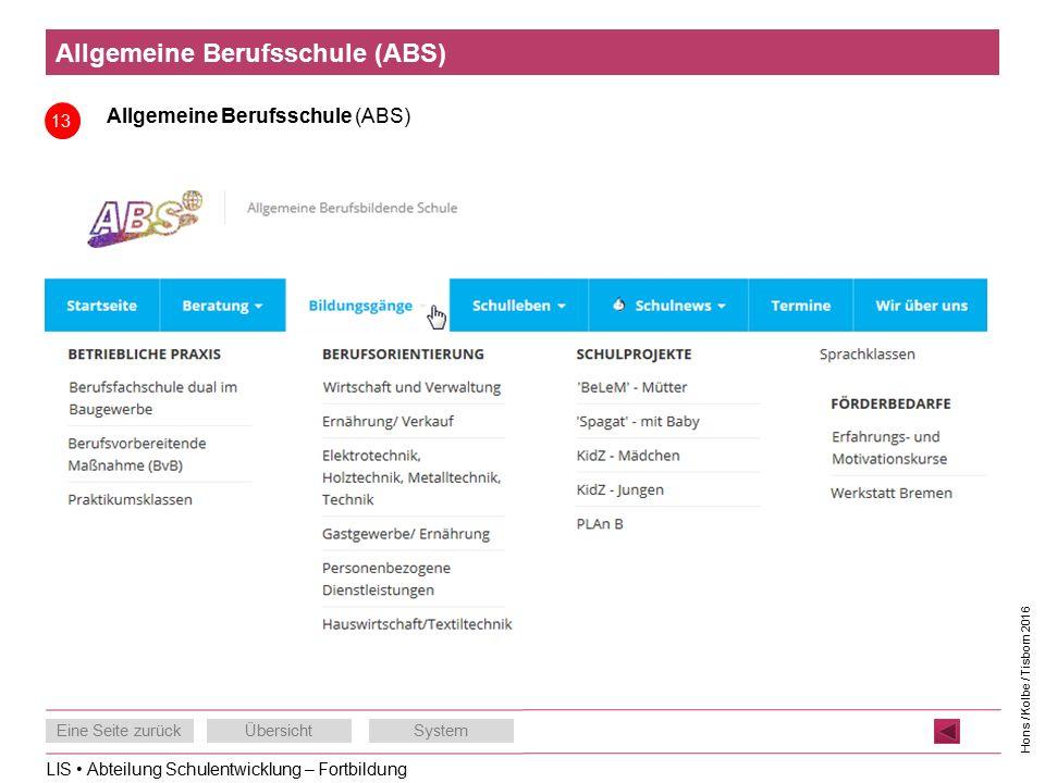 LIS Abteilung Schulentwicklung – Fortbildung Eine Seite zurückÜbersichtSystem Hons / Kolbe / Tisborn 2016 Allgemeine Berufsschule (ABS) 13