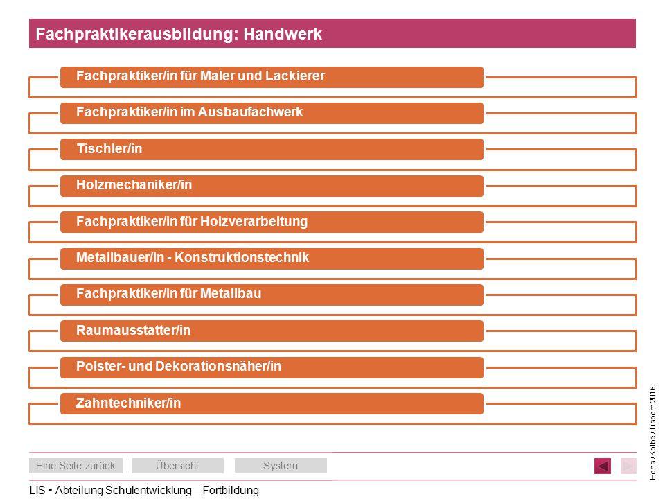 LIS Abteilung Schulentwicklung – Fortbildung Eine Seite zurückÜbersichtSystem Hons / Kolbe / Tisborn 2016 Fachpraktikerausbildung: Handwerk Fachpraktiker/in für Maler und LackiererFachpraktiker/in im AusbaufachwerkTischler/inHolzmechaniker/inFachpraktiker/in für HolzverarbeitungMetallbauer/in - KonstruktionstechnikFachpraktiker/in für MetallbauRaumausstatter/inPolster- und Dekorationsnäher/inZahntechniker/in