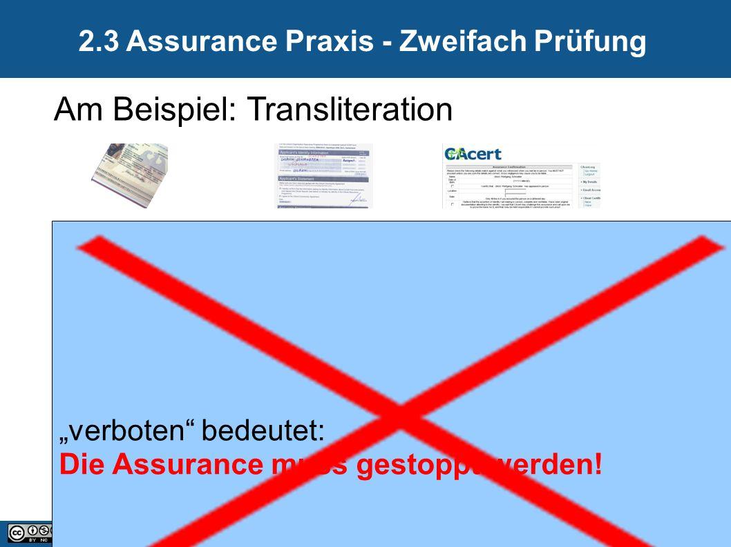 """13 20.09.2016 2.3 Assurance Praxis - Zweifach Prüfung Am Beispiel: Transliteration """"verboten bedeutet: Die Assurance muss gestoppt werden!"""