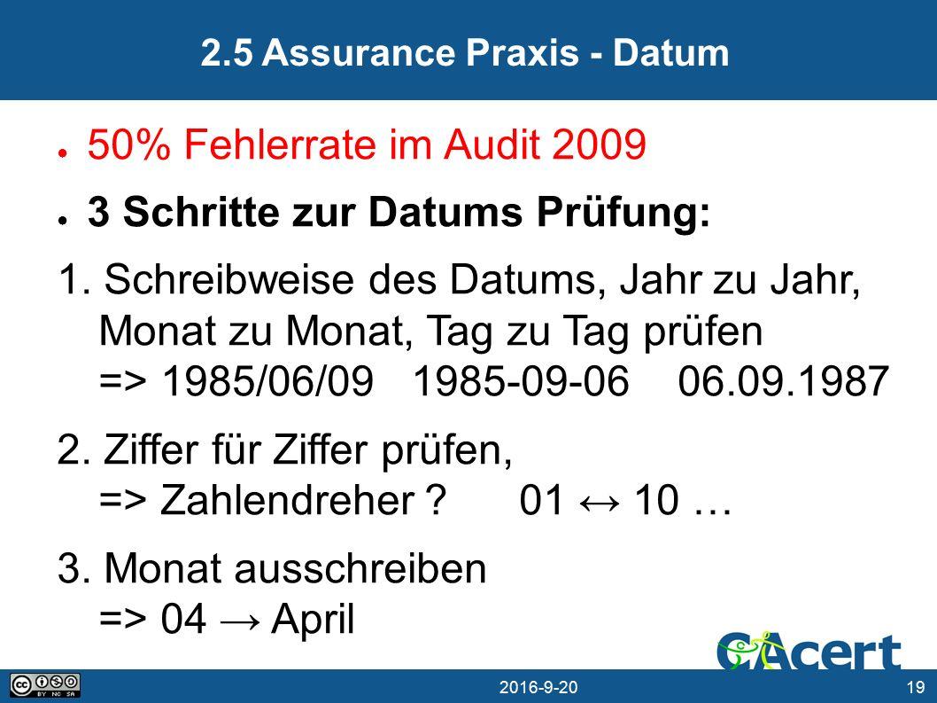19 20.09.2016 2.5 Assurance Praxis - Datum ● 50% Fehlerrate im Audit 2009 ● 3 Schritte zur Datums Prüfung: 1.