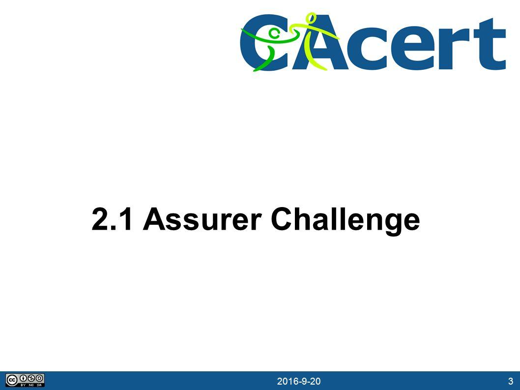 3 20.09.2016 2.1 Assurer Challenge
