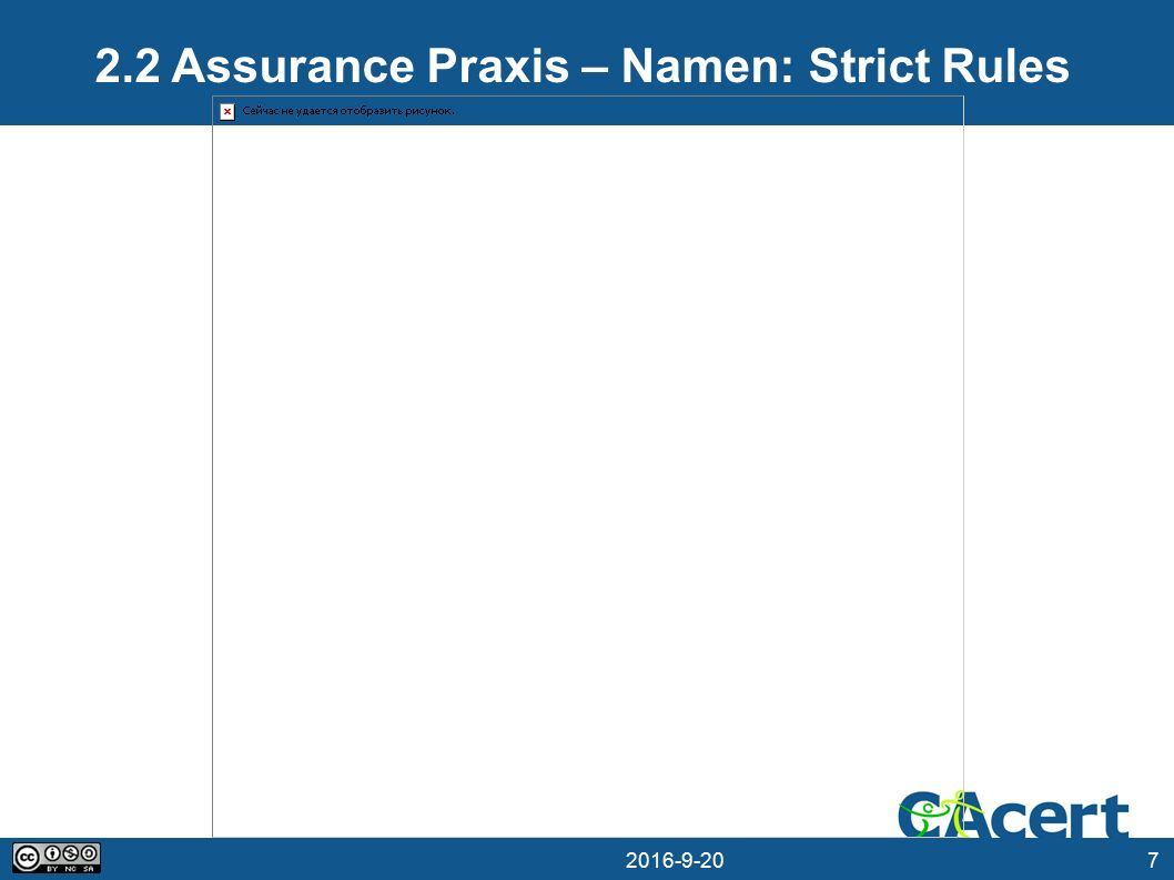 7 20.09.2016 2.2 Assurance Praxis – Namen: Strict Rules