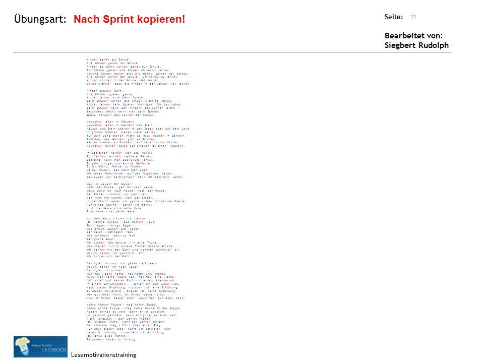 Übungsart: Seite: Bearbeitet von: Siegbert Rudolph Lesemotivationstraining 11 Nach Sprint kopieren.