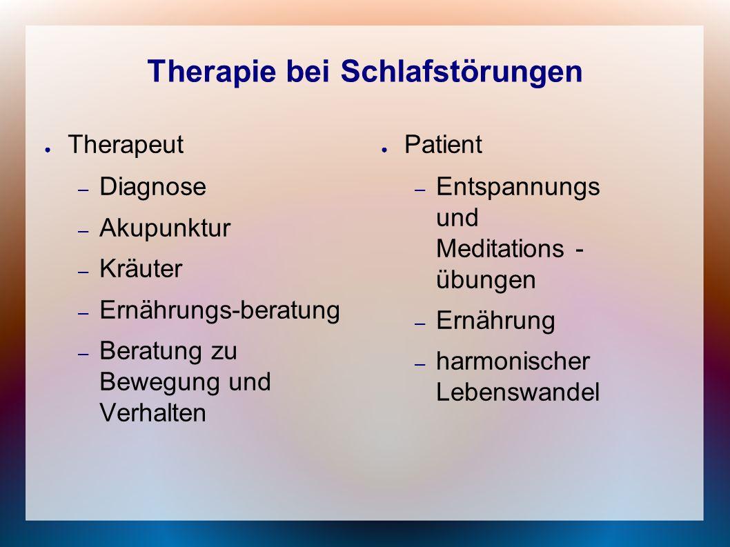 Therapie bei Schlafstörungen ● Therapeut – Diagnose – Akupunktur – Kräuter – Ernährungs-beratung – Beratung zu Bewegung und Verhalten ● Patient – Ents