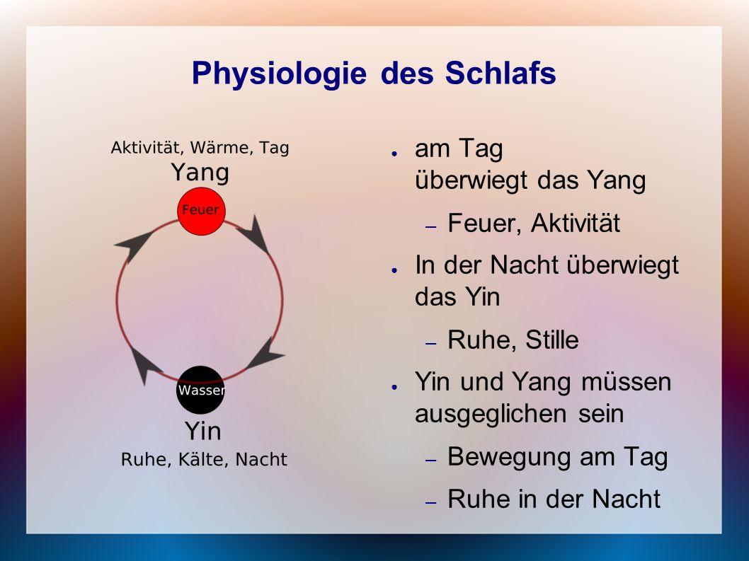 Physiologie des Schlafs ● am Tag überwiegt das Yang – Feuer, Aktivität ● In der Nacht überwiegt das Yin – Ruhe, Stille ● Yin und Yang müssen ausgeglic