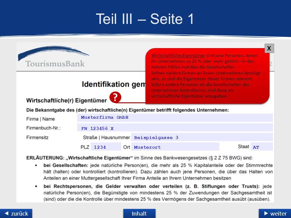 Teil III – Seite 1 Musterfirma GmbH FN 123456 X Beispielgasse 3 1234 Musterort Inhalt  weiter  weiter  zurück  zurück AT .