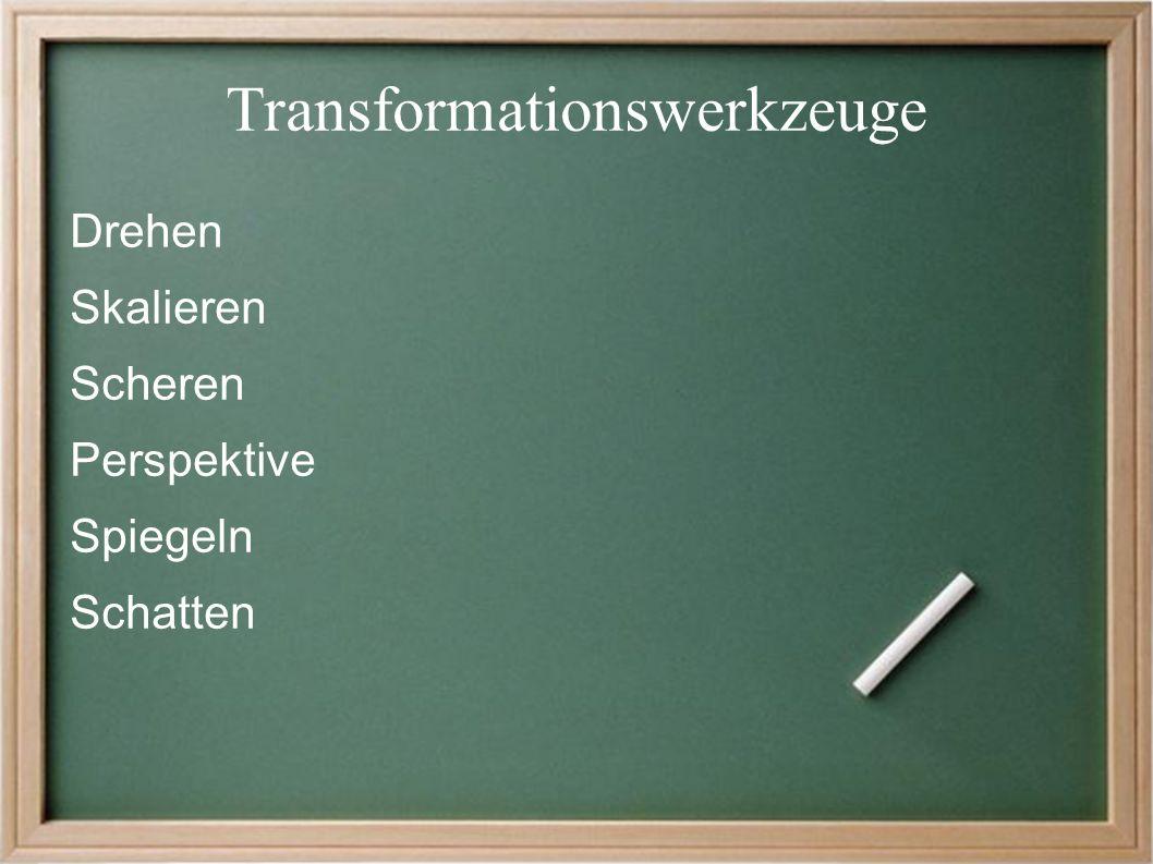 Transformationswerkzeuge Drehen Skalieren Scheren Perspektive Spiegeln Schatten