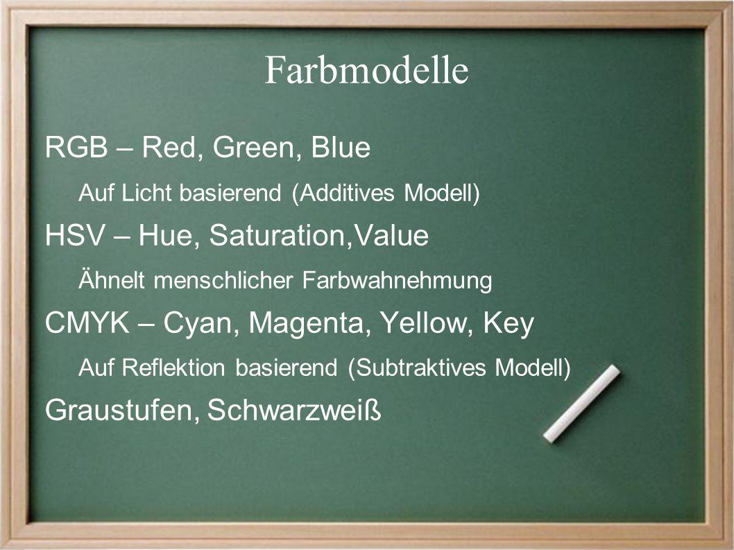 Farbmodelle RGB – Red, Green, Blue Auf Licht basierend (Additives Modell) HSV – Hue, Saturation,Value Ähnelt menschlicher Farbwahnehmung CMYK – Cyan, Magenta, Yellow, Key Auf Reflektion basierend (Subtraktives Modell) Graustufen, Schwarzweiß