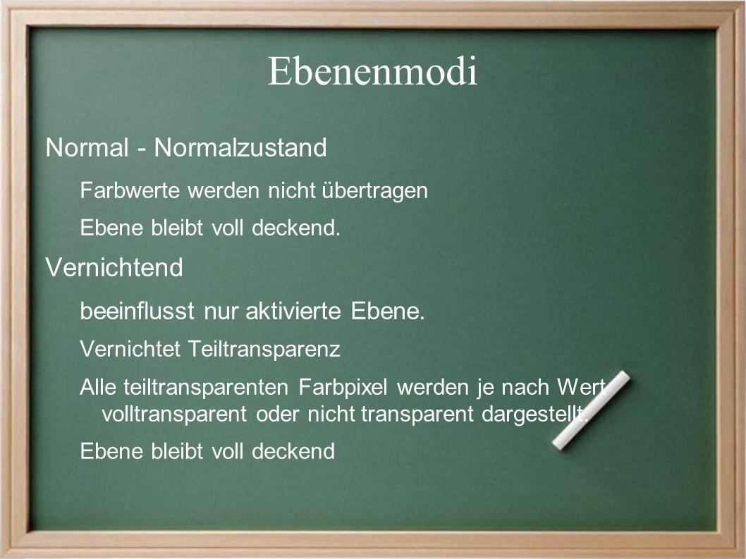 Ebenenmodi Normal - Normalzustand Farbwerte werden nicht übertragen Ebene bleibt voll deckend.