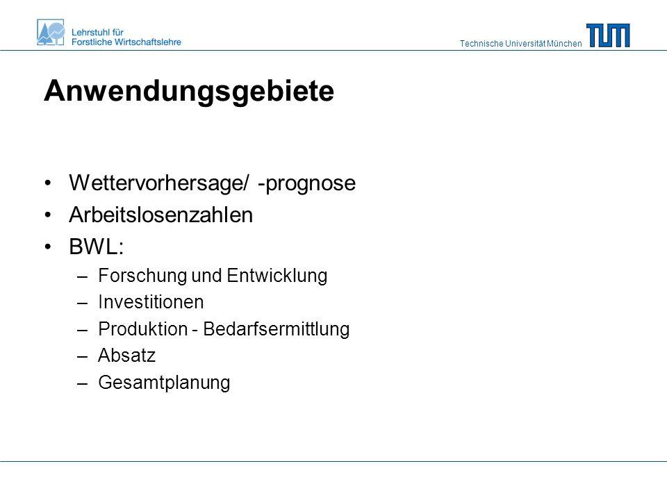 Technische Universität München Anwendungsgebiete Wettervorhersage/ -prognose Arbeitslosenzahlen BWL: –Forschung und Entwicklung –Investitionen –Produktion - Bedarfsermittlung –Absatz –Gesamtplanung