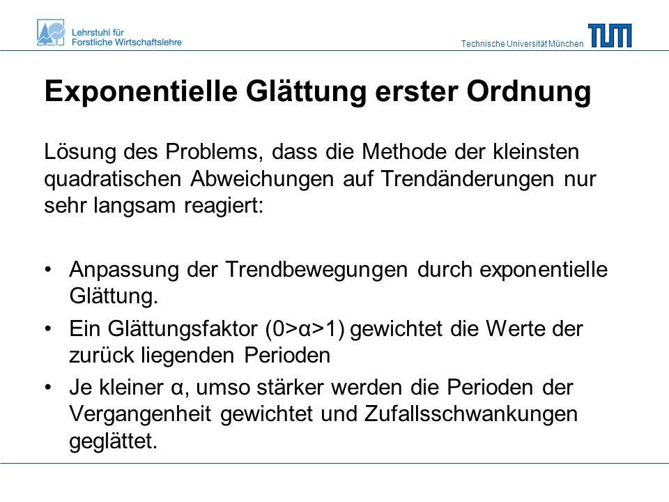 Technische Universität München Exponentielle Glättung erster Ordnung Lösung des Problems, dass die Methode der kleinsten quadratischen Abweichungen auf Trendänderungen nur sehr langsam reagiert: Anpassung der Trendbewegungen durch exponentielle Glättung.