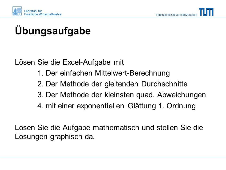 Technische Universität München Übungsaufgabe Lösen Sie die Excel-Aufgabe mit 1.