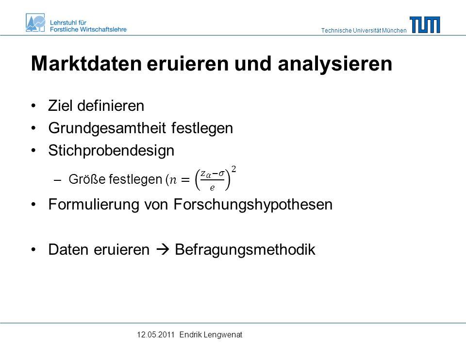Technische Universität München Marktdaten eruieren und analysieren Daten eruieren  Befragungsmethodik –Reliabilität (Zuverlässigkeit).