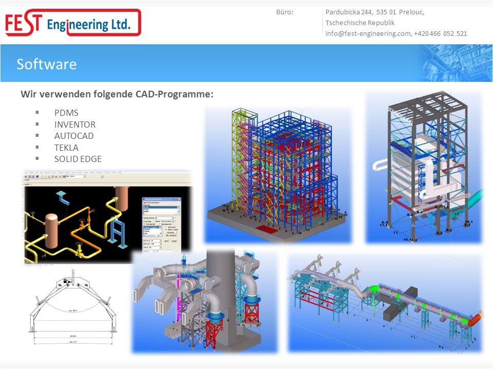 Software Büro: Pardubicka 244, 535 01 Prelouc, Tschechische Republik info@fest-engineering.com, +420 466 052 521 Wir verwenden folgende CAD-Programme: