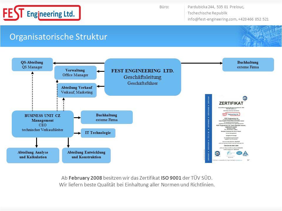 Organisatorische Struktur Büro: Pardubicka 244, 535 01 Prelouc, Tschechische Republik info@fest-engineering.com, +420 466 052 521 Ab February 2008 besitzen wir das Zertifikat ISO 9001 der TÜV SÜD.