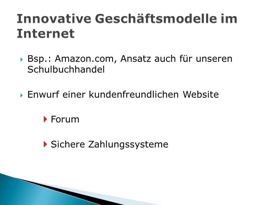 Bsp.: Amazon.com, Ansatz auch für unseren Schulbuchhandel  Enwurf einer kundenfreundlichen Website  Forum  Sichere Zahlungssysteme