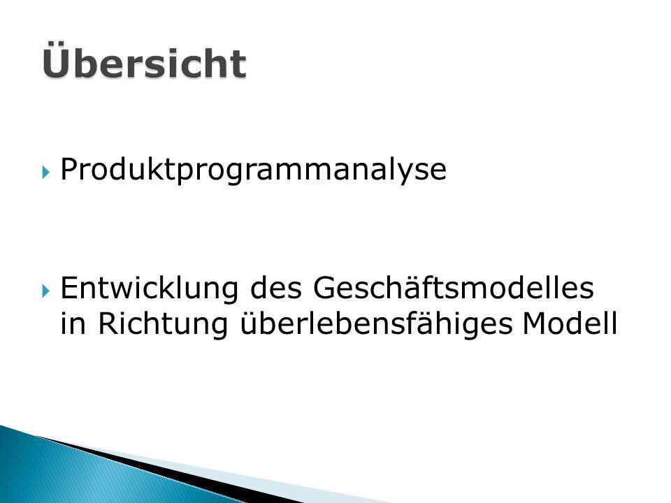  Produktprogrammanalyse  Entwicklung des Geschäftsmodelles in Richtung überlebensfähiges Modell