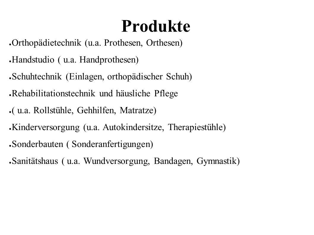 Produkte ● Orthopädietechnik (u.a. Prothesen, Orthesen) ● Handstudio ( u.a.