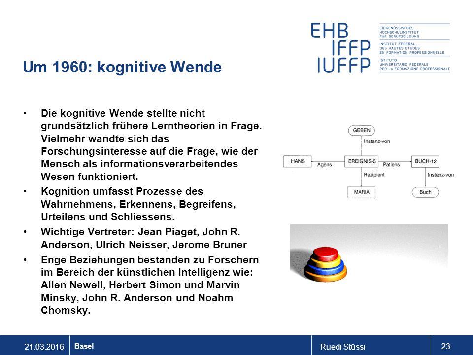 21.03.2016Ruedi Stüssi 23 Basel Um 1960: kognitive Wende Die kognitive Wende stellte nicht grundsätzlich frühere Lerntheorien in Frage.