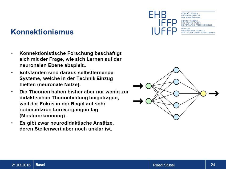 21.03.2016Ruedi Stüssi 24 Basel Konnektionismus Konnektionistische Forschung beschäftigt sich mit der Frage, wie sich Lernen auf der neuronalen Ebene abspielt..
