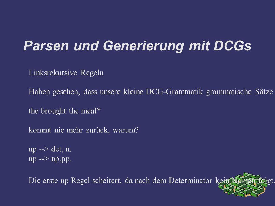 Parsen und Generierung mit DCGs Linksrekursive Regeln Haben gesehen, dass unsere kleine DCG-Grammatik grammatische Sätze akzeptiert und generiert.