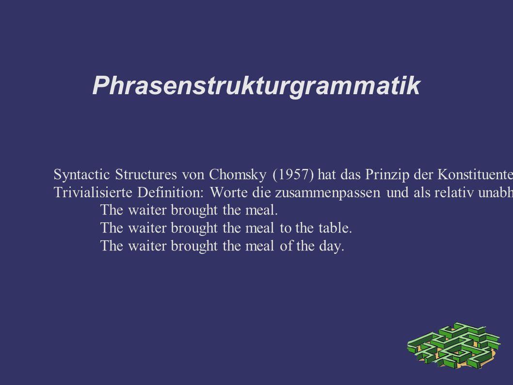 Phrasenstrukturgrammatik Syntactic Structures von Chomsky (1957) hat das Prinzip der Konstituentengrammatik eingeführt.
