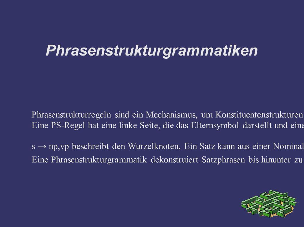 Phrasenstrukturgrammatiken Phrasenstrukturregeln sind ein Mechanismus, um Konstituentenstrukturen zu modellieren.