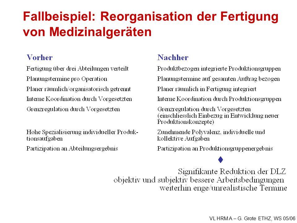 VL HRM A – G. Grote ETHZ, WS 05/06 Fallbeispiel: Reorganisation der Fertigung von Medizinalgeräten