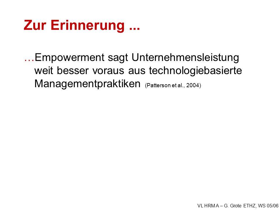 VL HRM A – G. Grote ETHZ, WS 05/06 Zur Erinnerung...