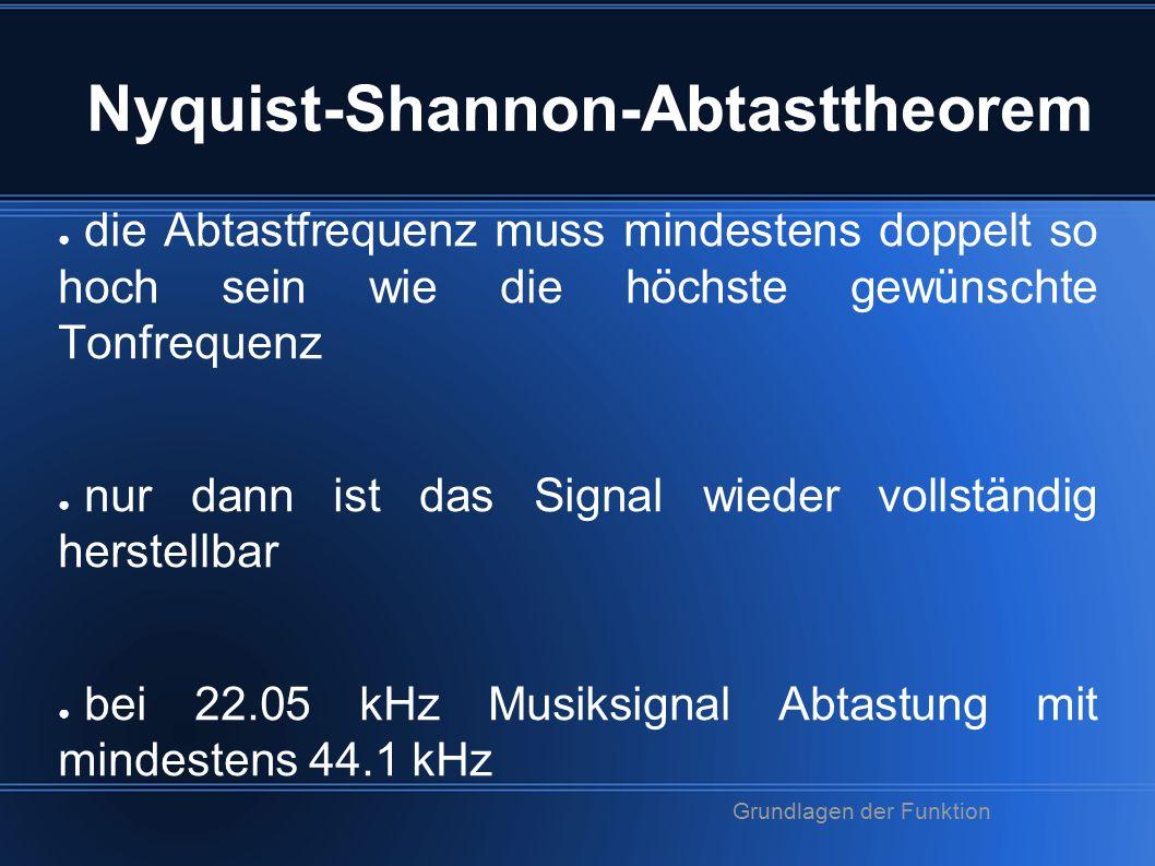 Nyquist-Shannon-Abtasttheorem ● die Abtastfrequenz muss mindestens doppelt so hoch sein wie die höchste gewünschte Tonfrequenz ● nur dann ist das Signal wieder vollständig herstellbar ● bei 22.05 kHz Musiksignal Abtastung mit mindestens 44.1 kHz Grundlagen der Funktion
