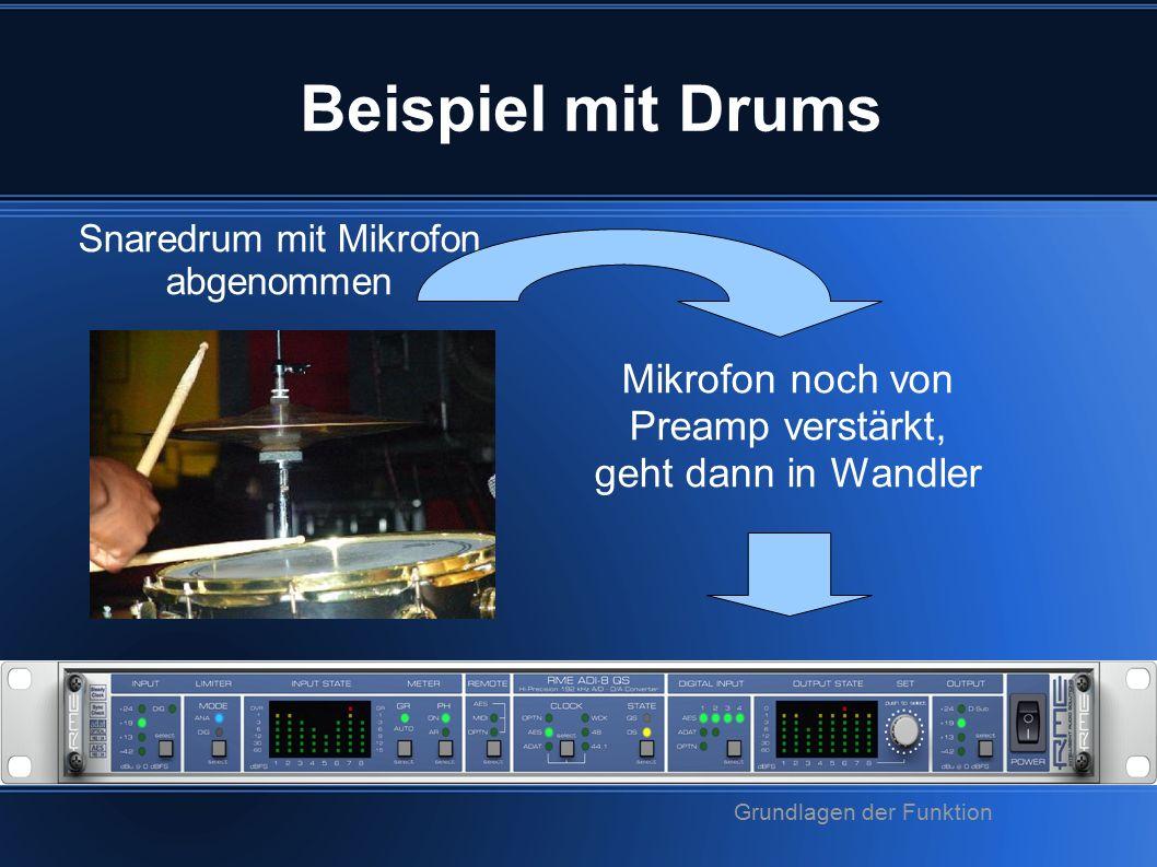 Beispiel mit Drums Snaredrum mit Mikrofon abgenommen Mikrofon noch von Preamp verstärkt, geht dann in Wandler Grundlagen der Funktion