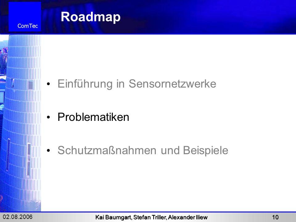 02.08.2006 Kai Baumgart, Stefan Triller, Alexander Iliew 10 Roadmap Einführung in Sensornetzwerke Problematiken Schutzmaßnahmen und Beispiele