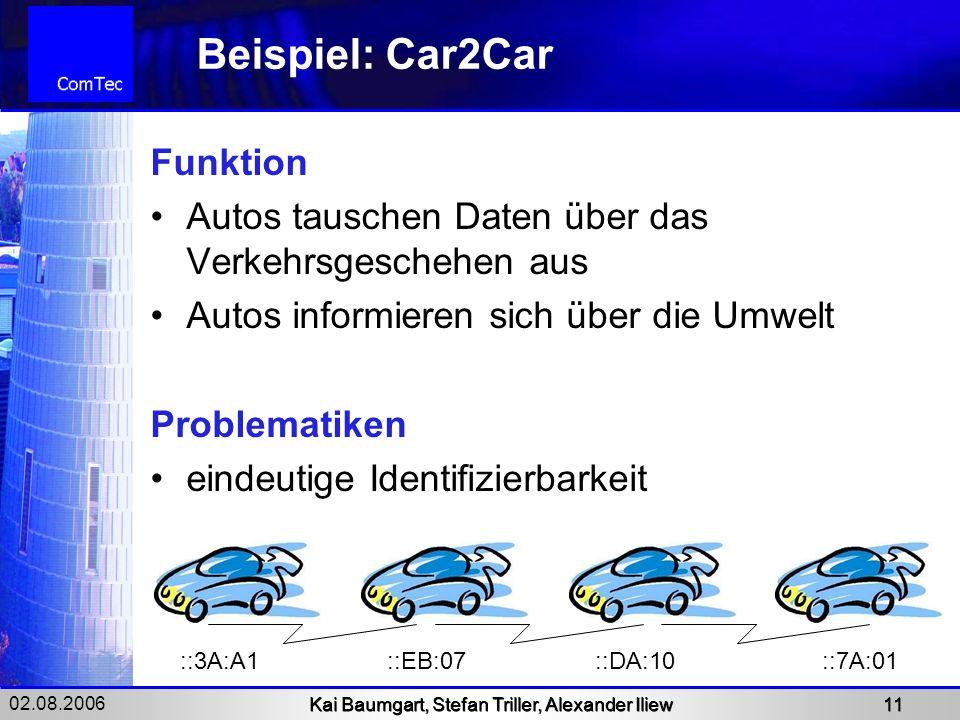 02.08.2006 Kai Baumgart, Stefan Triller, Alexander Iliew 11 Beispiel: Car2Car Funktion Autos tauschen Daten über das Verkehrsgeschehen aus Autos infor