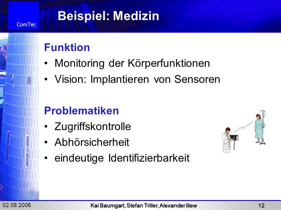02.08.2006 Kai Baumgart, Stefan Triller, Alexander Iliew 12 Beispiel: Medizin Funktion Monitoring der Körperfunktionen Vision: Implantieren von Sensor