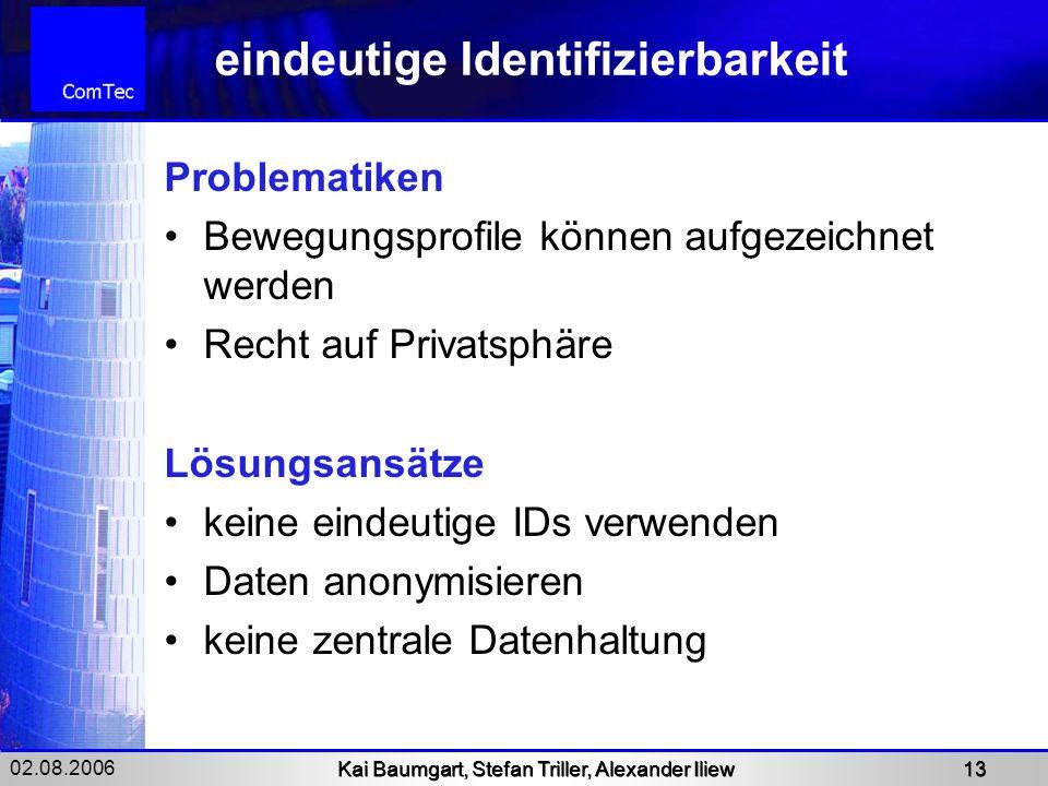 02.08.2006 Kai Baumgart, Stefan Triller, Alexander Iliew 13 eindeutige Identifizierbarkeit Problematiken Bewegungsprofile können aufgezeichnet werden
