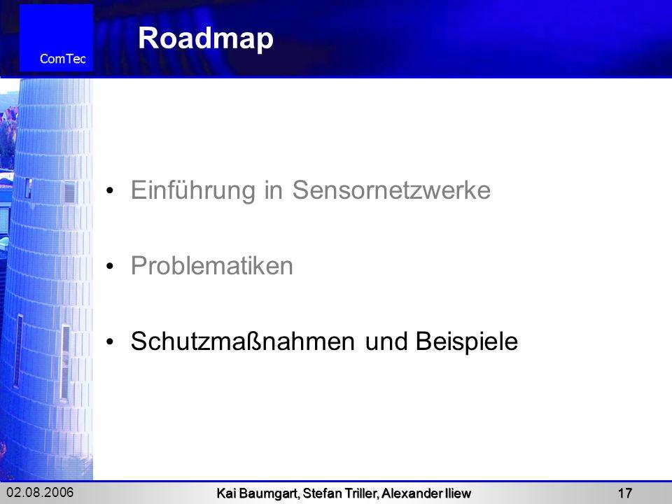 02.08.2006 Kai Baumgart, Stefan Triller, Alexander Iliew 17 Roadmap Einführung in Sensornetzwerke Problematiken Schutzmaßnahmen und Beispiele