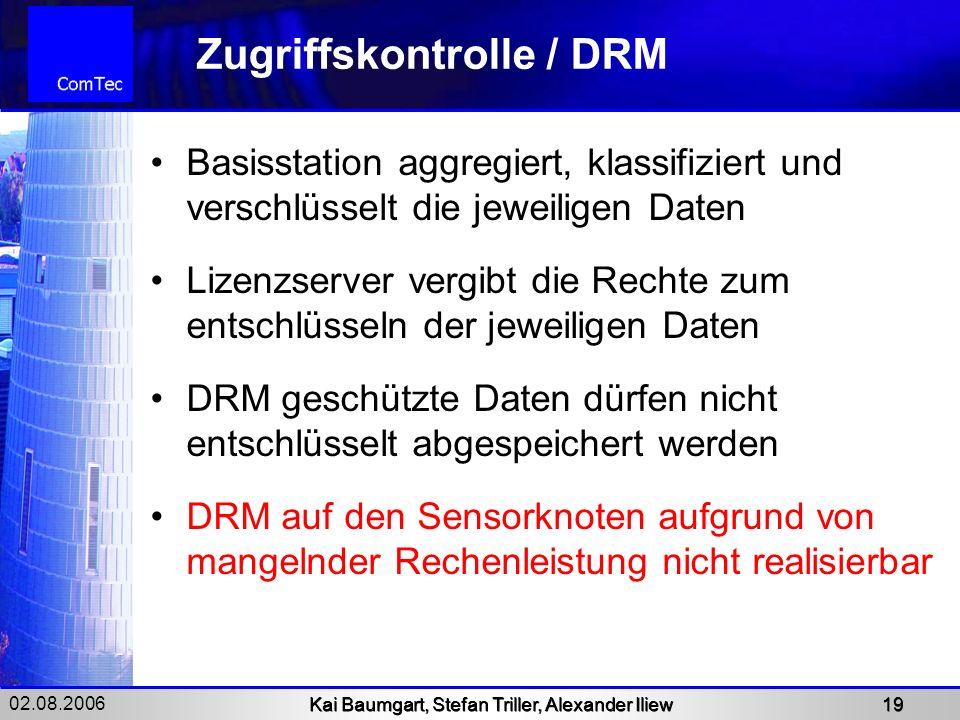 02.08.2006 Kai Baumgart, Stefan Triller, Alexander Iliew 19 Zugriffskontrolle / DRM Basisstation aggregiert, klassifiziert und verschlüsselt die jewei
