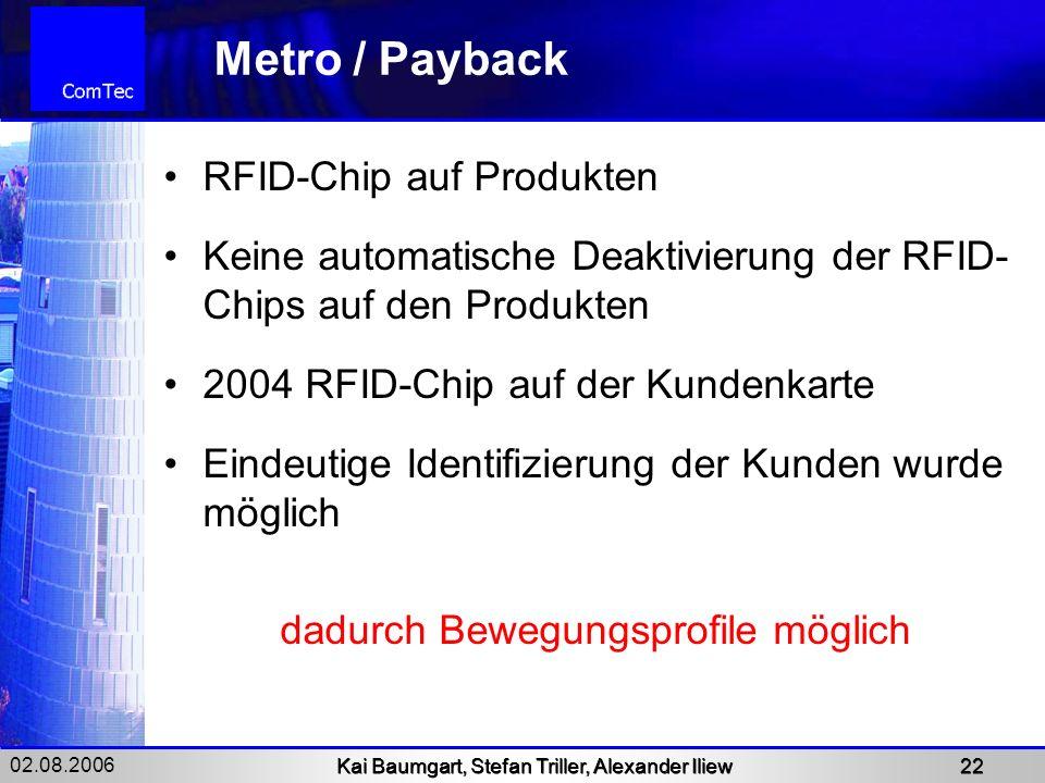 02.08.2006 Kai Baumgart, Stefan Triller, Alexander Iliew 22 Metro / Payback RFID-Chip auf Produkten Keine automatische Deaktivierung der RFID- Chips a
