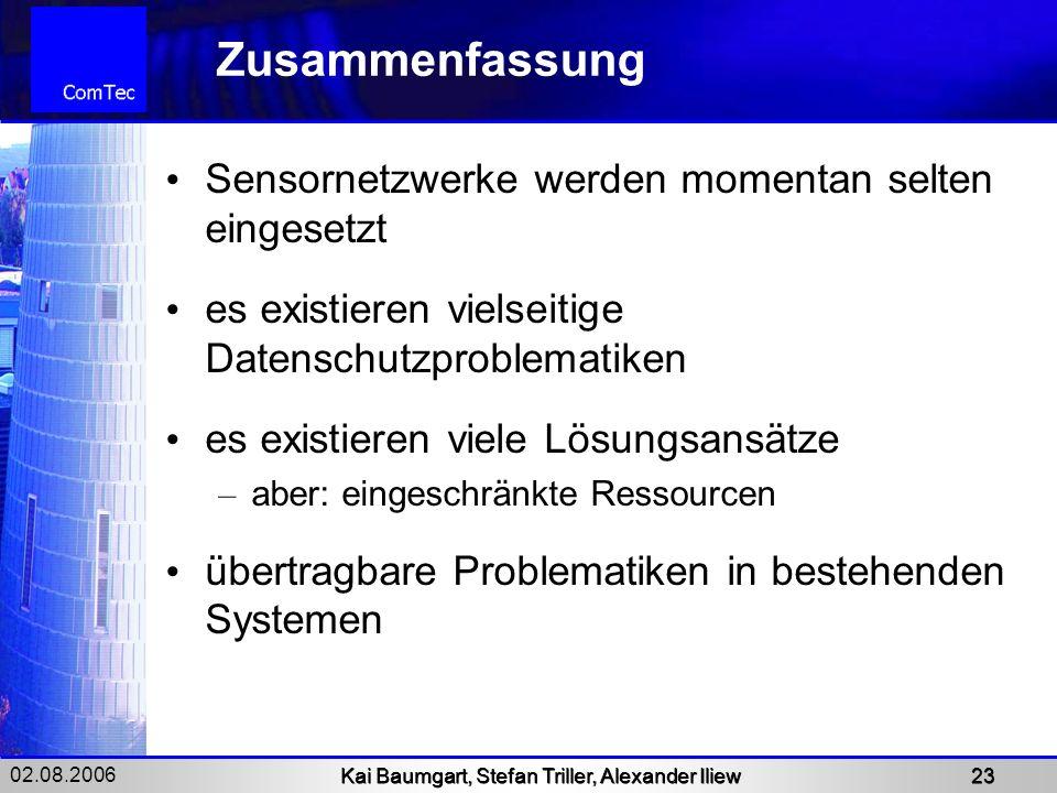 02.08.2006 Kai Baumgart, Stefan Triller, Alexander Iliew 23 Zusammenfassung Sensornetzwerke werden momentan selten eingesetzt es existieren vielseitig