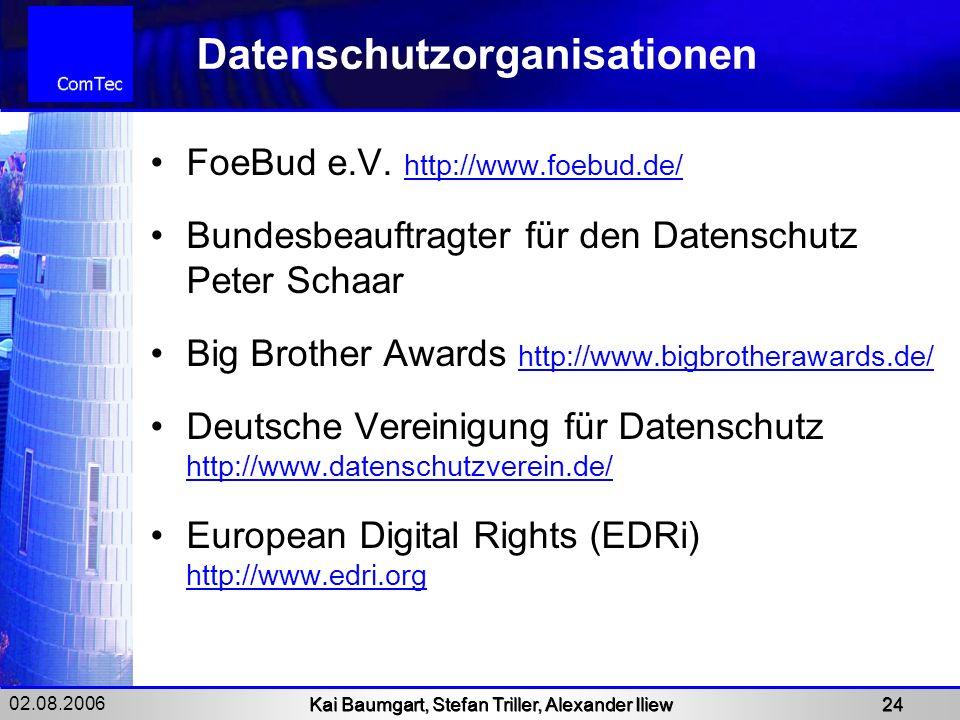 02.08.2006 Kai Baumgart, Stefan Triller, Alexander Iliew 24 Datenschutzorganisationen FoeBud e.V. http://www.foebud.de/ http://www.foebud.de/ Bundesbe
