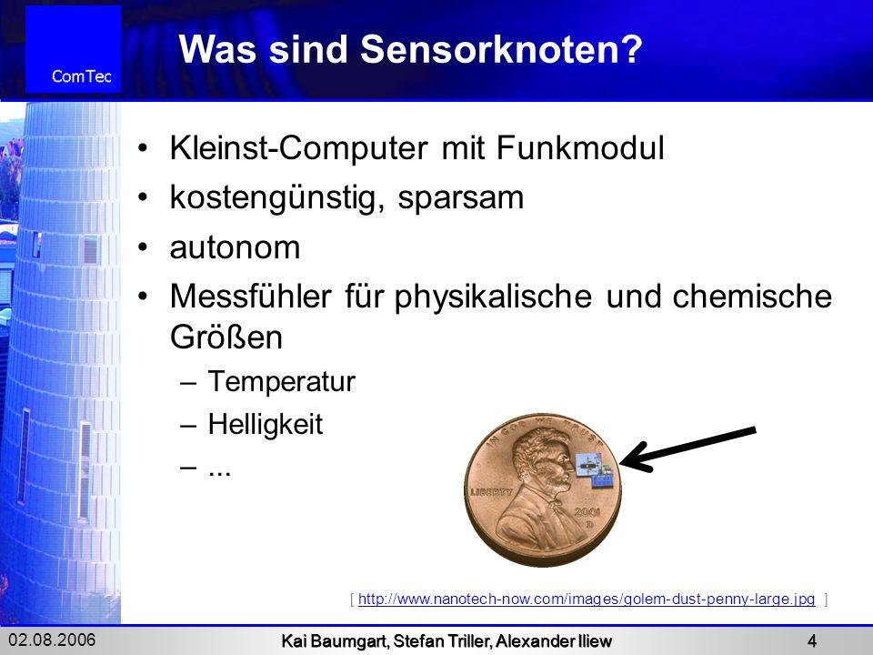02.08.2006 Kai Baumgart, Stefan Triller, Alexander Iliew 4 Was sind Sensorknoten? Kleinst-Computer mit Funkmodul kostengünstig, sparsam autonom Messfü