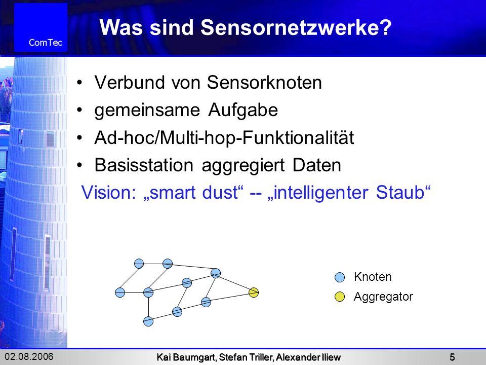 02.08.2006 Kai Baumgart, Stefan Triller, Alexander Iliew 5 Was sind Sensornetzwerke? Verbund von Sensorknoten gemeinsame Aufgabe Ad-hoc/Multi-hop-Funk