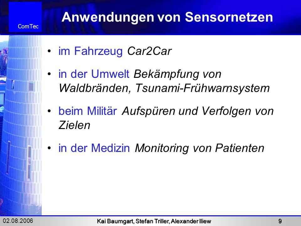 02.08.2006 Kai Baumgart, Stefan Triller, Alexander Iliew 9 Anwendungen von Sensornetzen im Fahrzeug Car2Car in der Umwelt Bekämpfung von Waldbränden,