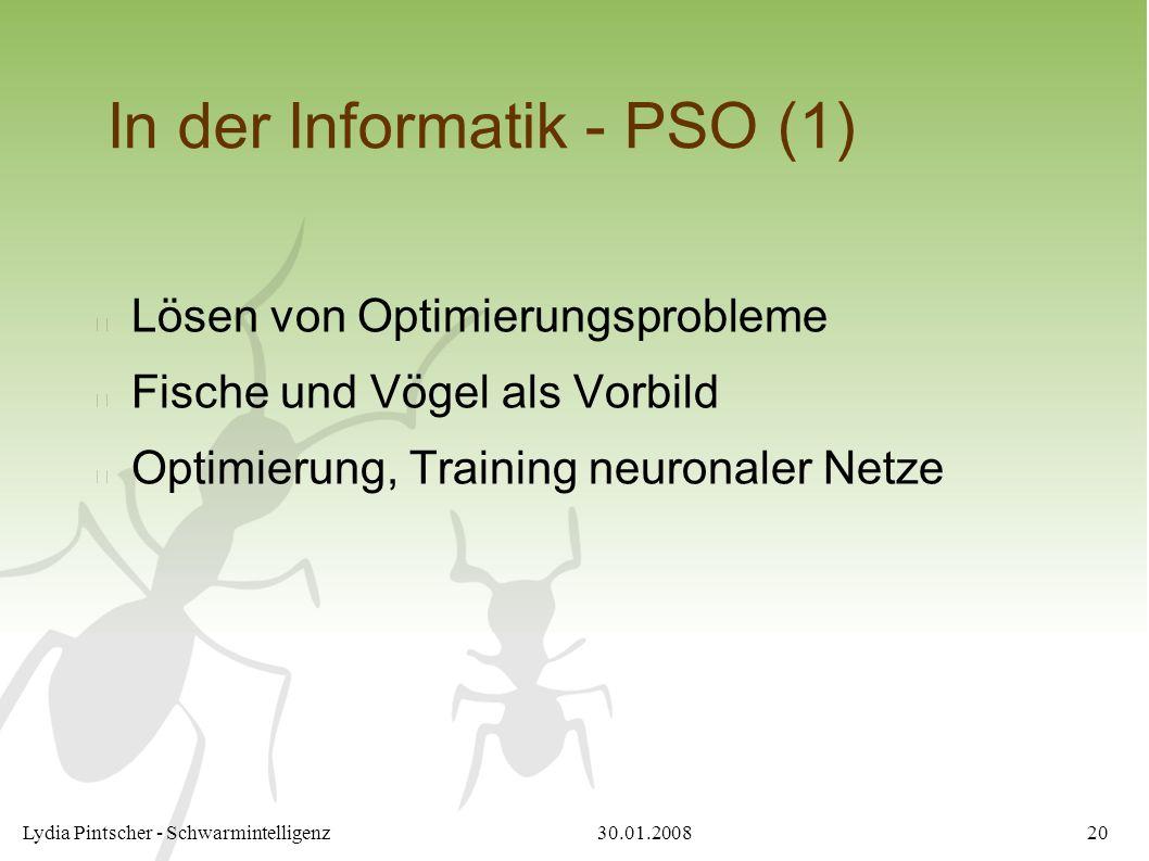 30.01.2008Lydia Pintscher - Schwarmintelligenz20 In der Informatik - PSO (1) Lösen von Optimierungsprobleme Fische und Vögel als Vorbild Optimierung,