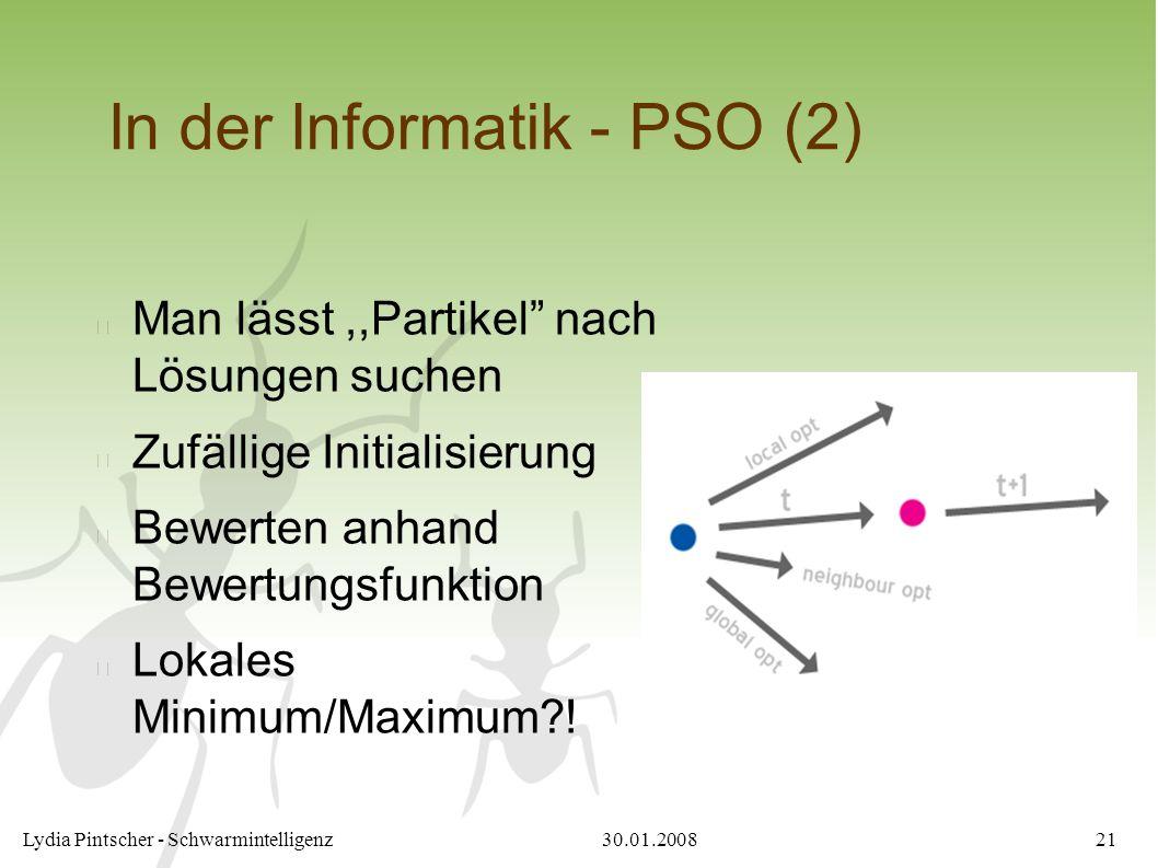 """30.01.2008Lydia Pintscher - Schwarmintelligenz21 In der Informatik - PSO (2) Man lässt,,Partikel"""" nach Lösungen suchen Zufällige Initialisierung Bewer"""