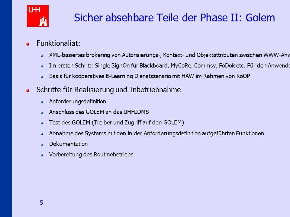 IDMS@uni-hamburg.de 5 Sicher absehbare Teile der Phase II: Golem Funktionaliät: XML-basiertes brokering von Autorisierungs-, Kontext- und Objektattrib