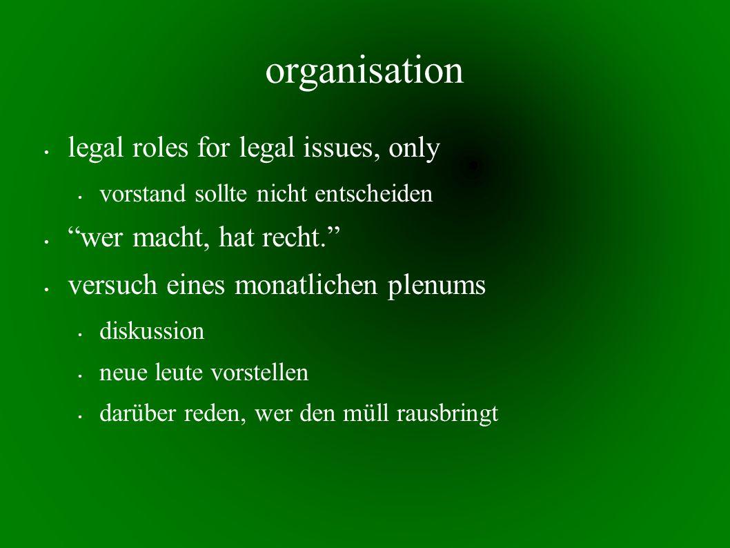 organisation legal roles for legal issues, only vorstand sollte nicht entscheiden wer macht, hat recht. versuch eines monatlichen plenums diskussion neue leute vorstellen darüber reden, wer den müll rausbringt