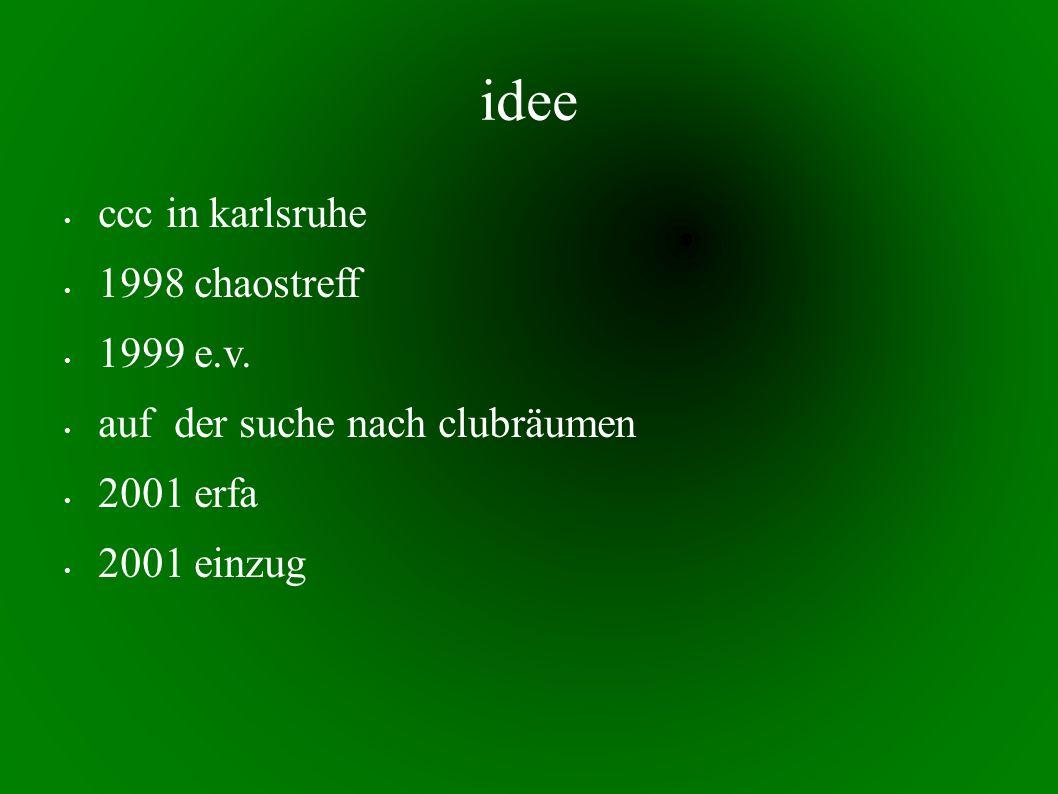 idee ccc in karlsruhe 1998 chaostreff 1999 e.v. auf der suche nach clubräumen 2001 erfa 2001 einzug